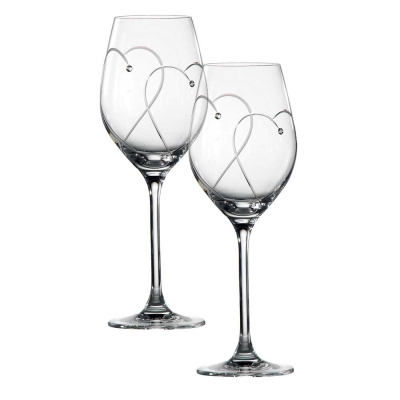 Royal Doulton Promises Two Hearts Entwined Wine Glasses - Set of 2