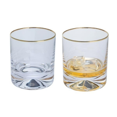 Dartington Dimple Gold Old Fashioned Glasses - Set of 2