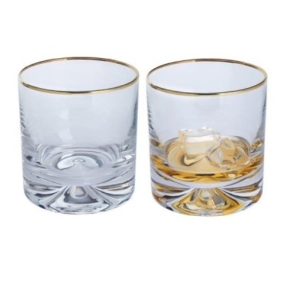 Dartington Dimple Gold Double Old Fashioned Glasses - Set of 2
