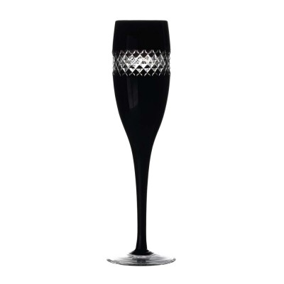 Waterford John Rocha Black Cut Flute Champagne Glasses - Set of 2