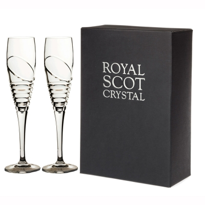 Royal Scot Saturn Flute Champagne Glasses - Set of 2
