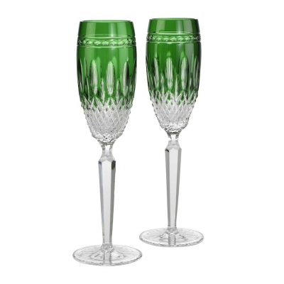 Waterford Clarendon Emerald Green Flute Champagne Glasses - Set of 2