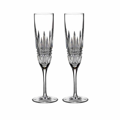 Waterford Lismore Diamond Flute Champagne Glasses - Set of 2