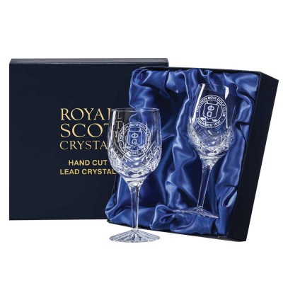 Royal Scot Engraved Golfer Highland Large Wine Glasses - Set of 2