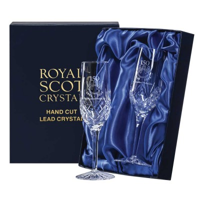 Royal Scot Engraved Golfer Highland Flute Champagne Glasses - Set of 2