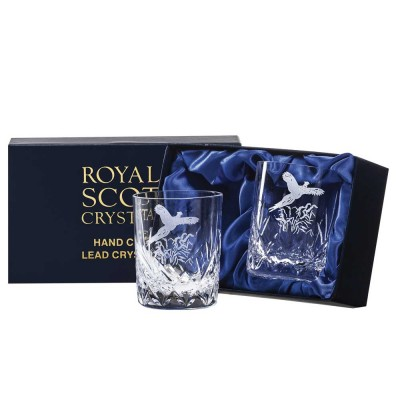 Royal Scot Engraved Golfer Highland Whisky Tumblers - Set of 2